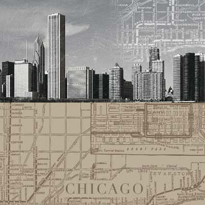Chicago Map II-The Vintage Collection-Giclee Print