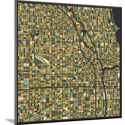 Chicago Map-Jazzberry Blue-Mounted Print