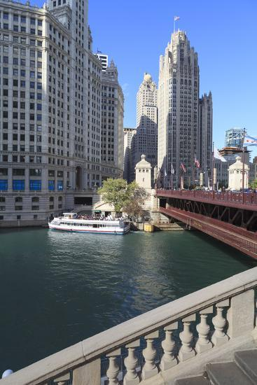 Chicago River and Dusable Bridge with Wrigley Building and Tribune Tower, Chicago, Illinois, USA-Amanda Hall-Photographic Print