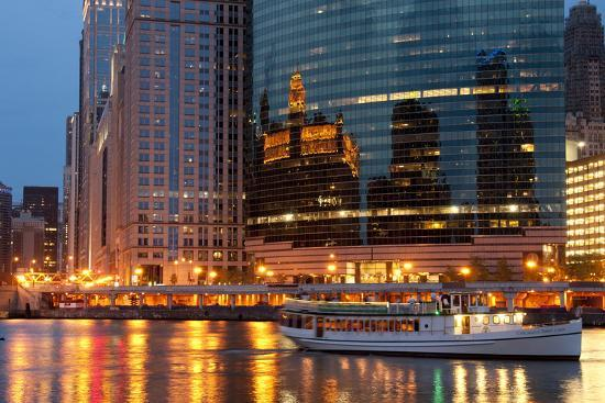Chicago River and Skyline at Dusk in Summer with Boats-Alan Klehr-Photographic Print