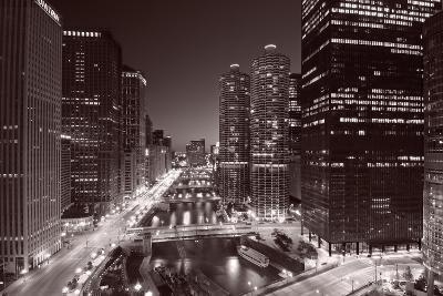 Chicago River Bend, Black & White-Steve Gadomski-Photographic Print