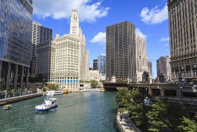 Chicago River Walk Follows the Riverside Along East Wacker Drive-Amanda Hall-Photographic Print