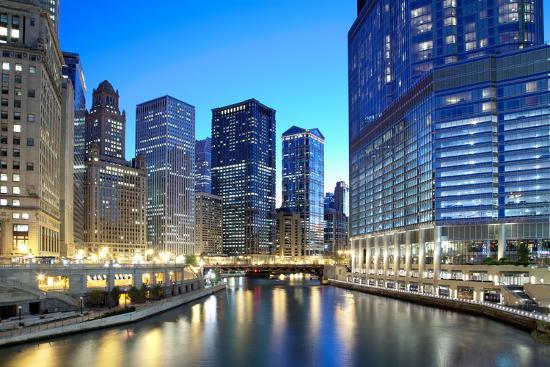 Chicago Skyline along the River-rebelml-Photographic Print