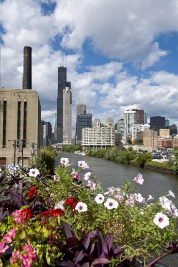 Chicago Skyline and River Looking North-Alan Klehr-Photographic Print