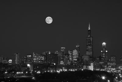 Chicago Skyline & Full Moon In Black & White-Steve Gadomski-Photographic Print
