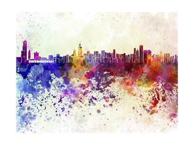 Chicago Skyline in Watercolor Background-paulrommer-Art Print