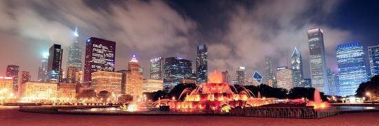 Chicago Skyline Panorama with Skyscrapers and Buckingham Fountain in Grant Park at Night Lit by Col-Songquan Deng-Photographic Print
