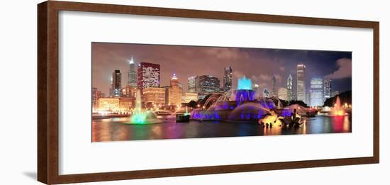 Chicago Skyline Panorama with Skyscrapers and Buckingham Fountain in Grant Park at Night Lit by Col-Songquan Deng-Framed Photographic Print
