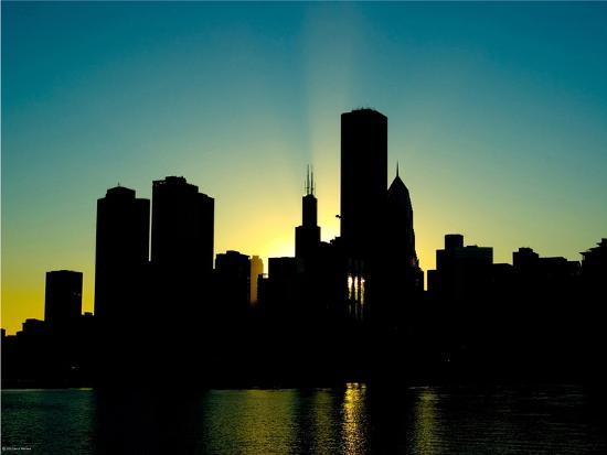 Chicago Skyline Silhouette From Navy Pier-Patrick Warneka-Photographic Print