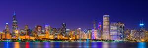 Chicago skyline with Cubs World Series lights night, Lake Michigan, Chicago, Cook County, Illino...