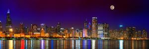Chicago skyline with Cubs World Series lights night, Moonrise, Lake Michigan, Chicago, Cook Coun...