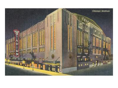 Chicago Stadium at Night, Chicago, Illinois--Art Print