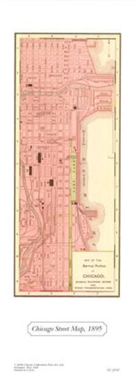 Chicago Street Map, 1895--Art Print