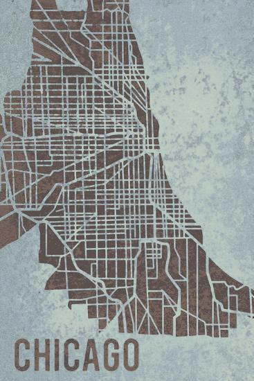 Chicago Street Map-Tom Frazier-Giclee Print