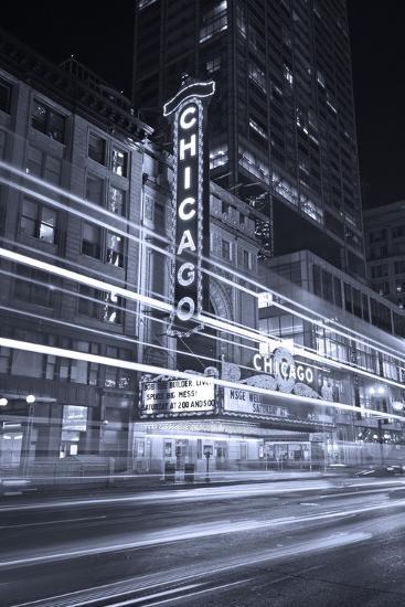 Chicago Theater Marquee In Black & White-Steve Gadomski-Photographic Print