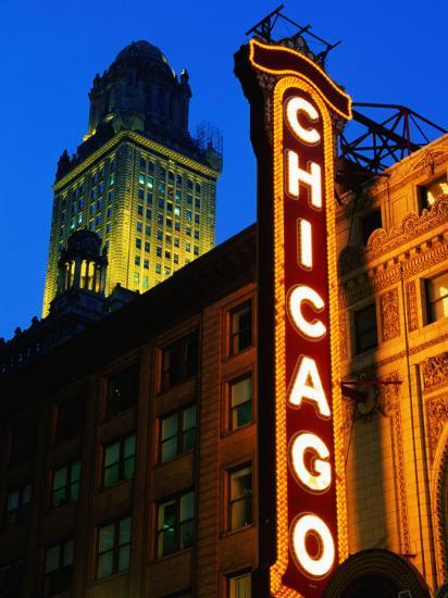 Chicago Theatre Facade and Illuminated Sign, Chicago, United States of America-Richard Cummins-Photographic Print