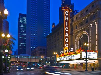 Chicago Theatre marquee at night, Chicago, Cook County, Illinois, USA