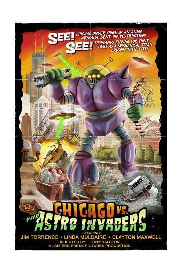 Chicago Versus Astro Invaders-Lantern Press-Art Print