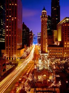 Chicago Water Tower at night, Michigan Avenue, Magnificent Mile, Chicago, Illinois, USA