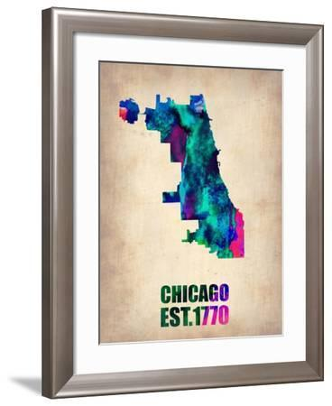 Chicago Watercolor Map-NaxArt-Framed Art Print
