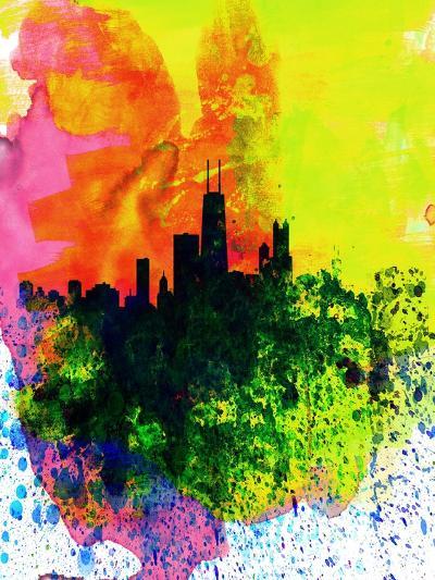 Chicago Watercolor Skyline-NaxArt-Art Print