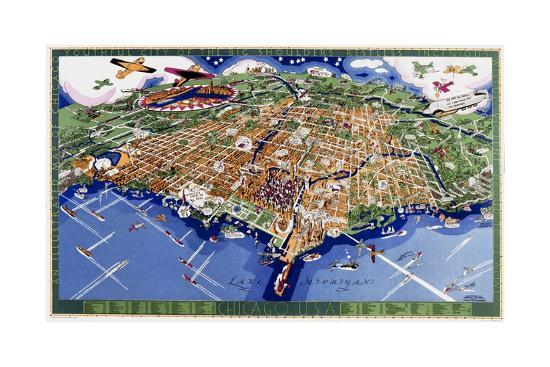 Chicago World's Fair Map--Giclee Print