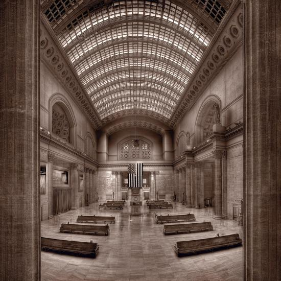 Chicagos Union Station BW-Steve Gadomski-Photographic Print