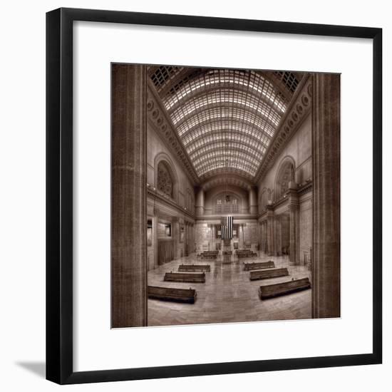Chicagos Union Station BW-Steve Gadomski-Framed Photographic Print
