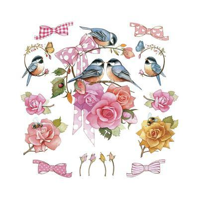Chick on Rose--Giclee Print