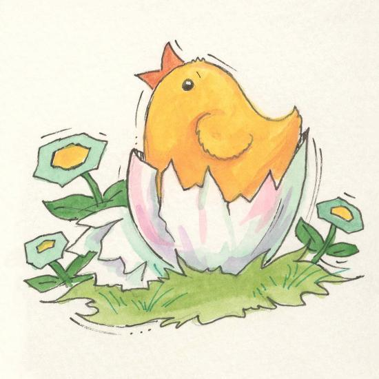 Chick with Egg-Beverly Johnston-Giclee Print