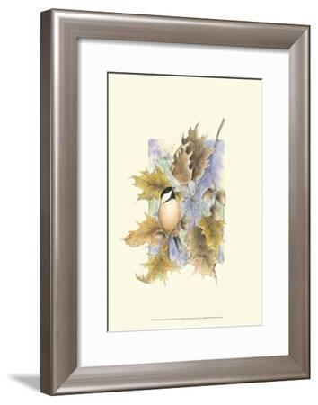 Chickadee and Oak Leaves-Janet Mandel-Framed Art Print