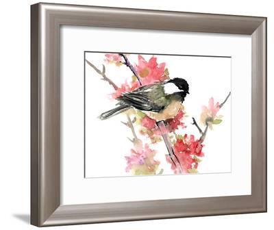Chickadee And Pink Flowers-Suren Nersisyan-Framed Art Print