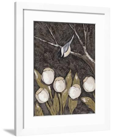 Chickadee & Tulips II-Jade Reynolds-Framed Art Print