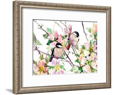 Chickadees And Dogwood Flowers 1-Suren Nersisyan-Framed Art Print