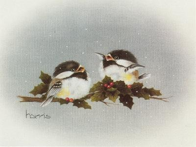 Chickadees and Holly-Peggy Harris-Giclee Print