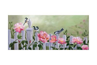 Chickadees and Pink Roses-Julie Peterson-Art Print
