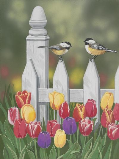 Chickadees and Tulips-William Vanderdasson-Giclee Print