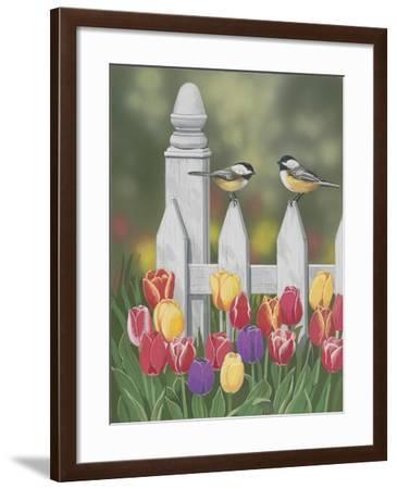 Chickadees and Tulips-William Vanderdasson-Framed Giclee Print
