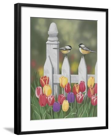 Chickadees and Tulips-William Vanderdasson-Framed Giclee Print