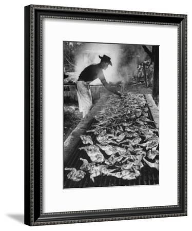 Chicken and Pork Cooking on the Grill During Flordia Swamp Barbeque--Framed Premium Photographic Print