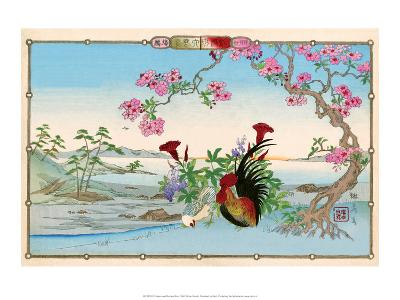 Chicken and Rooster under Cherry Blossom-Rinsai Utsushi-Art Print
