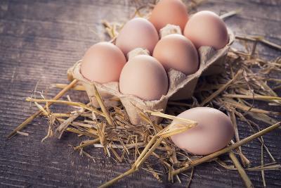 Chicken Eggs on Wooden Background-sobol100-Photographic Print