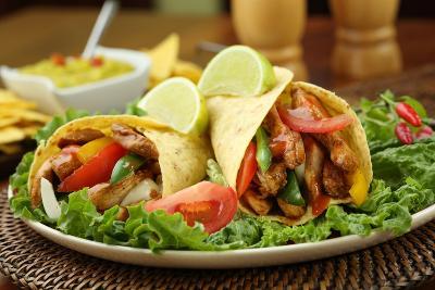Chicken Fajita  with Guacamole and Tortillas - Dish of Mexico-FBB-Photographic Print