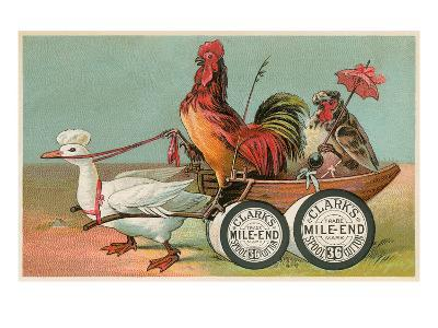 Chicken Wagon Pulled by Duck--Art Print