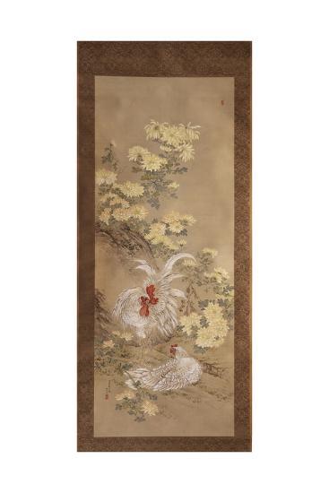 Chickens and Chrysanthemums, 1892-Noguchi Yukoku-Giclee Print