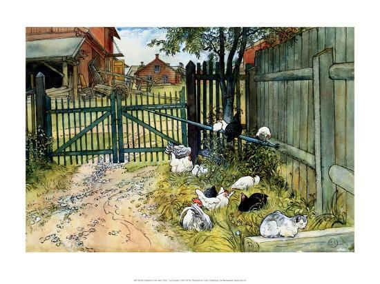 Chickens in the Yard, 1904-Carl Larsson-Art Print