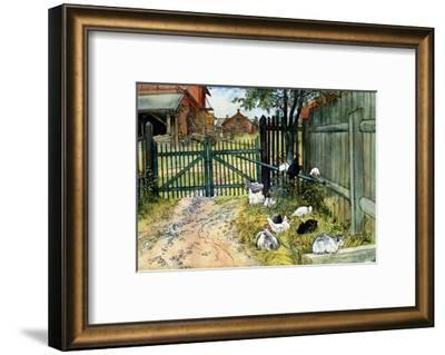 Chickens in the Yard, 1904-Carl Larsson-Framed Art Print