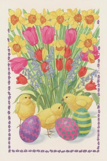 Chicks, Eggs and Flowers, 1995-Linda Benton-Giclee Print