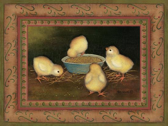 Chicks with Seed-Kim Lewis-Art Print