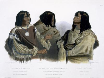Chief of Blood Indians, War Chief of Piekann Indians and a Koutani Indian, Engraved Hurlimann, 1844-Karl Bodmer-Giclee Print